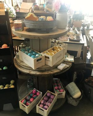 An in-store display of Magpie Bath Products